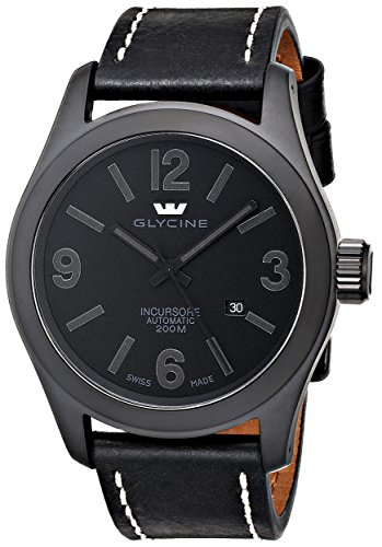 """Glycine Men's 3874-999-LB9B """"Incursore"""" Stainless Steel Automatic Watch with Black Leather band"""