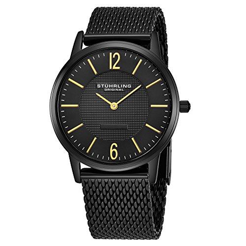 Stuhrling Original Men's 122.33551 Classic Ascot Somerset Elite Ultra Slim Black Mesh Bracelet Watch