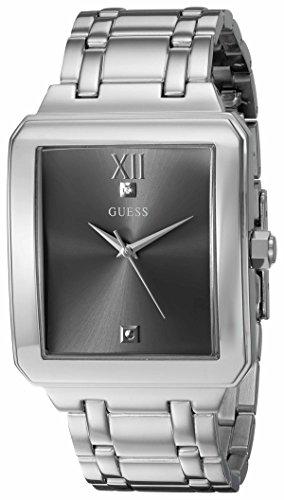 GUESS Rectangular Stainless Steel Grey Genuine Diamond Dial Bracelet Watch. Color: Silver-Tone (Model: U0917G2)