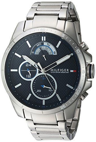 Tommy Hilfiger Men's Cool Sport Quartz Watch with Stainless-Steel Strap, Silver, 21 (Model: 1791348)