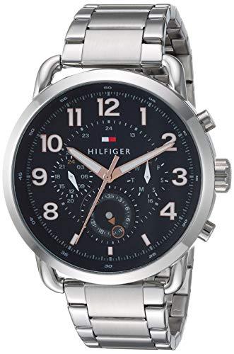 Tommy Hilfiger Men's Quartz Watch with Stainless-Steel Strap, Silver, 21.1