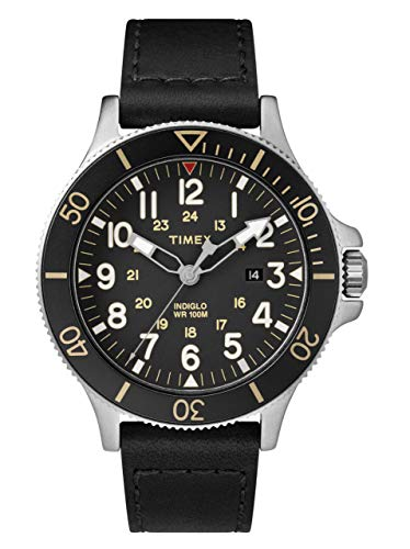 Timex Allied Coastline Black Dial Leather Strap Men's Watch TW2R45800