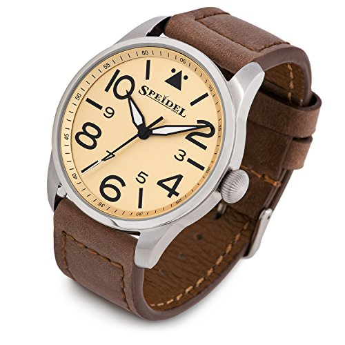 Speidel Pilot Watch Stainless Steel Metal Case, Genuine Brown Leather Band with Classic Yellow Aviator Dial - Water Resistant - Luminous Second Hand