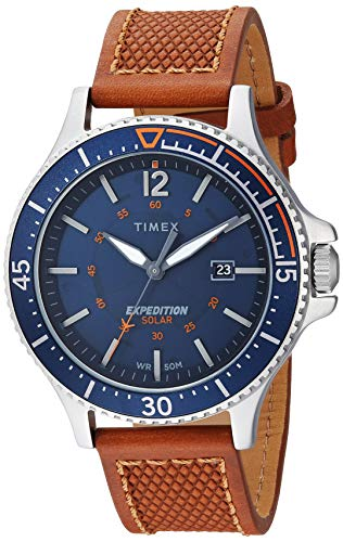 Timex Men's Expedition Ranger Solar Tan/Blue Leather Strap Watch