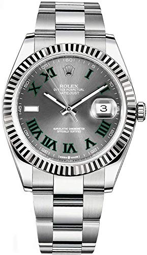 Rolex Datejust 41 Grey Dial with Green Roman Numeral Markers Men's Watch Ref. 126334