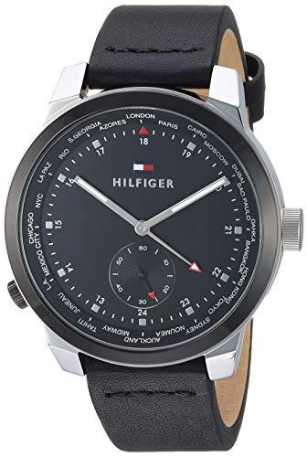 Tommy Hilfiger Men's Quartz Watch with Leather Calfskin Strap, Black, 19.4 (Model: 1791552)