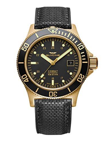 Glycine Men's Sub Combat 42mm Automatic Watch GL0186 Gold Color, Black Band