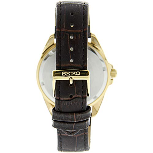 Seiko SUR284 Gold Leather Japanese Quartz Dress Watch The by Seiko is a timeless piece for individuals who worth the little luxuries in life. This watch is hand made with a glossy leather-based band and chrome steel case. These sturdy supplies assure longevity of the product and a proud proprietor within the years to come back. The brown band, silver dial and gold arms contribute to the general look of the watch by including a classy facet. This piece additionally contains a sturdy hardlex crystal to guard the dial and a japanese quartz motion to make sure you stay punctual in your day by day life. As well as, this product is water resistant to 100 meters / 330 toes / 10 atm , which is good for these days the place an accident might happen. The wealthy particulars, imperishable parts and opulent high quality of the Seiko watch make it an ideal addition to any assortment.