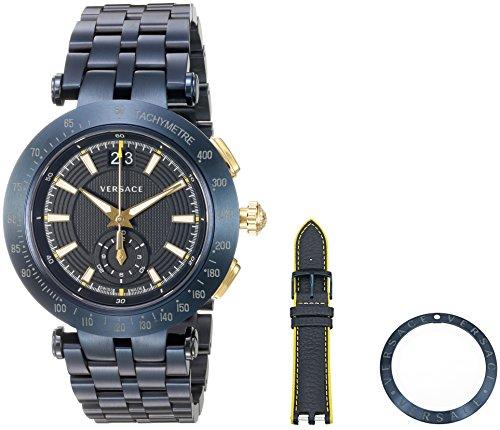 Versace Men's 'V-Race' Swiss Quartz Stainless Steel Casual Watch, Color:Blue (Model: VAH050016)