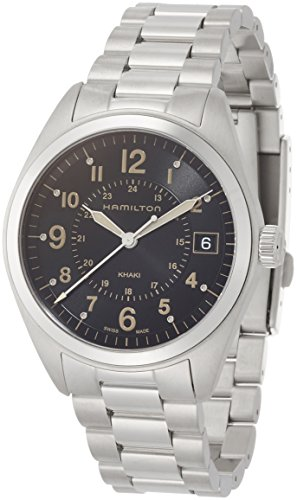 Hamilton Men's Khaki Field Swiss-Quartz Watch with Stainless-Steel Strap, Silver, 20 (Model: H68551133)