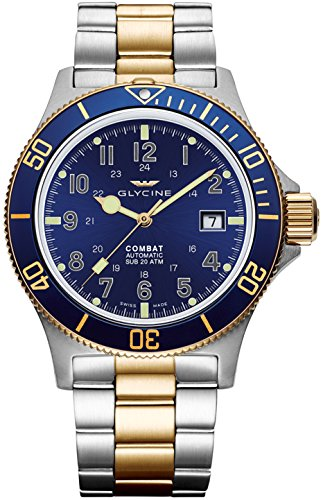 Glycine Combat Sub Blue Dial Two-Tone Mens Watch GL0081