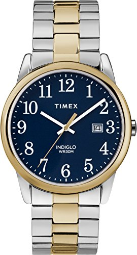 Timex Men's Easy Reader Blue Dial on a Two Tone Stainless Steel Bracelet Watch TW2R58500