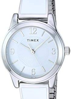 Timex Women's TW2R98300 Stretch Bangle 25mm White/Silver-Tone Stainless Steel Expansion Band Watch