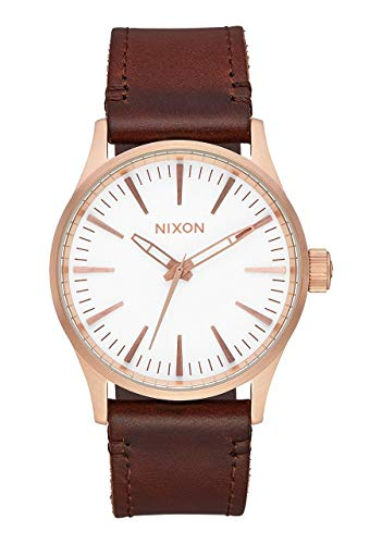 NIXON Sentry 38 Leather A381 - Rose Gold/White/Brown - 104M Water Resistant Men's Analog Classic Watch (38mm Watch Face, 21mm Leather Band)