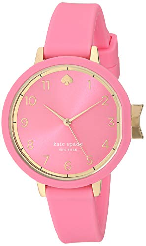 Kate spade new york Women's Park Row Quartz Watch with Silicone Strap, Pink, 11.7 (Model: KSW1518)