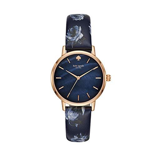 Kate spade new york Women's Metro Stainless Steel Analog-Quartz Watch with Leather Calfskin Strap, Blue, 16 (Model: KSW1390)