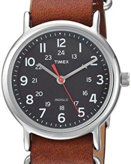 Timex Unisex TW2R63100 Weekender 38 Brown/Black Leather Slip-Thru Strap Watch