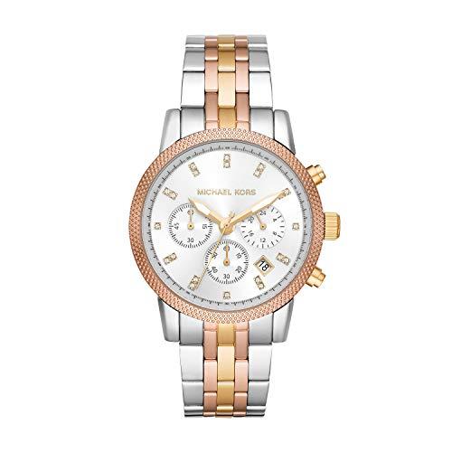 Michael Kors Women's Ritz Chronograph Tri-Tone Satinless Steel Watch MK6344
