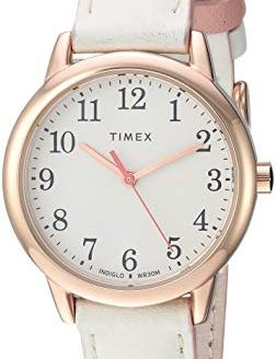 Timex Women's TW2T53900 Easy Reader 30mm Cream/Rose Gold-Tone Leather Strap Watch