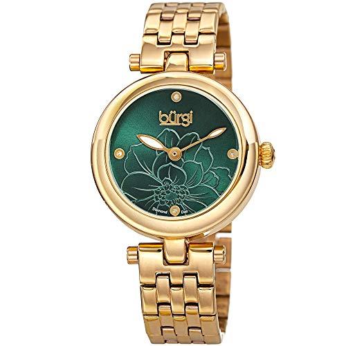 Burgi Stainless Steel Designer Women's Watch - 4 Genuine Diamond Markers on Green Flower Embossed Sunray Dial, Fashion Bracelet Band - BUR223GN