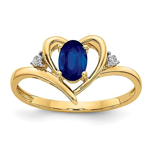 14k Yellow Gold Diamond Sapphire Band Ring Size 7.00 Stone Birthstone