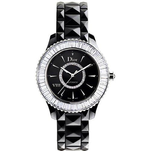 New Ladies Dior VIII Eight Black Ceramic Baguette Diamonds Watch