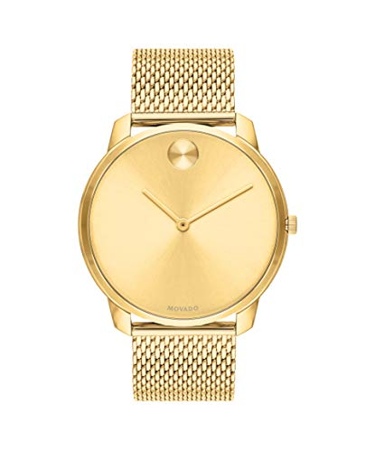 Movado Bold, Yellow Gold Ion-Plated Stainless Steel Case, Gold Dial, Gold Ion-Plated Stainless Steel Mesh Bracelet, Men, 3600588