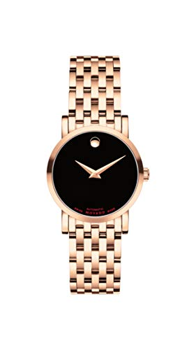 Movado Women's Red Label Rose Gold Watch with a Concave Dot Museum Dial, Gold/Pink (Model 607064)