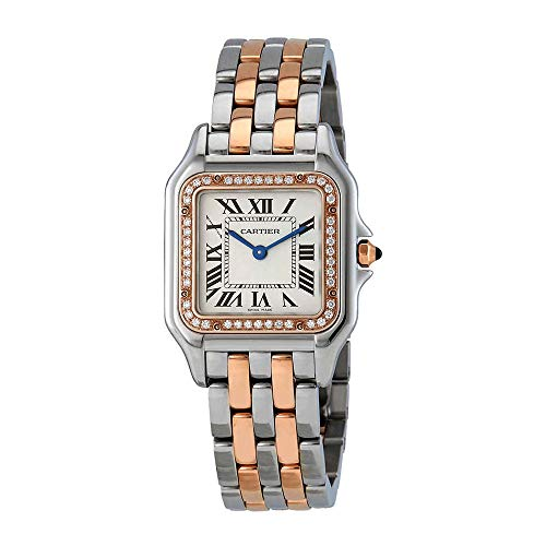 Cartier Panthere Silver Dial Ladies Steel and 18kt Pink Gold Medium Watch