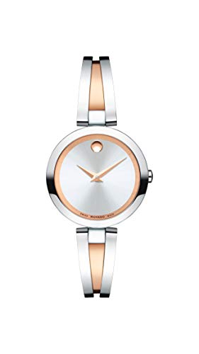 Movado Women's Aleena Two-Tone Watch with a Concave Dot Museum Dial, Gold/Silver/Red (Model 607151)