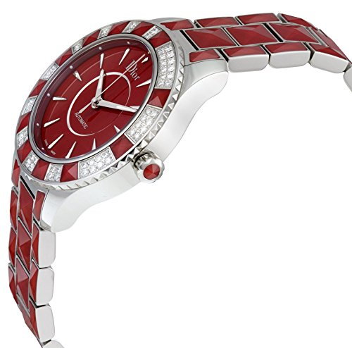 Christian Dior Christal Red Dial Stainless Steel with Sapphire Inserts Ladies Watch Christian Dior Christal Red Dial Stainless Steel with Sapphire Inserts Ladies Watch CD144514M001.