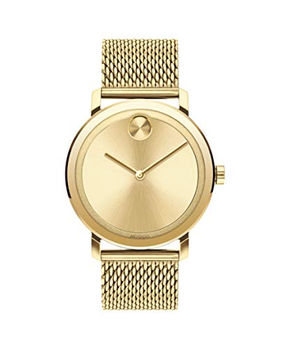 Movado Bold Evolution, Pale Yellow Gold Ion-Plated Stainless Steel Case, Pale Gold Dial, Pale Yellow Gold Ion-Plated Steel Mesh Bracelet, Men, 3600560