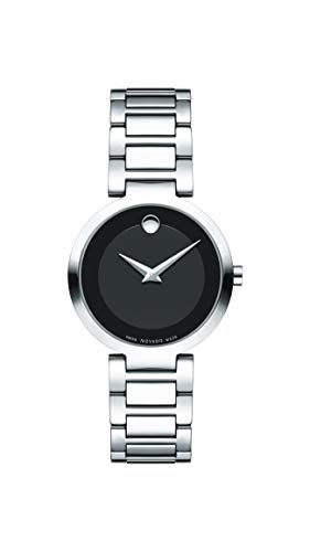 Movado Women's Modern Classic Stainless Steel Watch with Museum Dial, Black/Silver/Grey (607101)