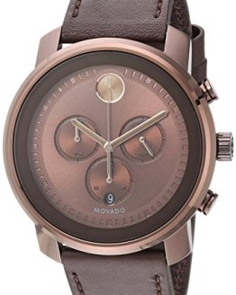 Movado Men's Stainless Steel Swiss-Quartz Watch with Leather Strap, Brown, 22 (Model: 3600420)