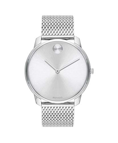 Movado Bold, Stainless Steel Case, Silver White Dial, Stainless Steel Mesh Bracelet