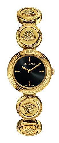 Versace Medusa Stud Icon Ladies Black Dial Gold-Tone Stainless Steel Watch
