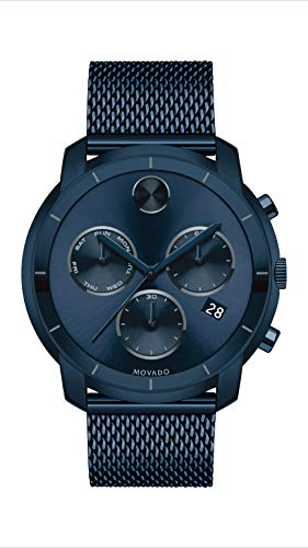 Movado Men's BOLD Thin Blue PVD Watch with a Flat Dot Sunray Dial, Blue (Model 3600403)
