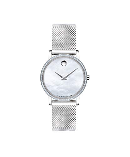 Movado Museum, Stainless Steel Case, White Dial, Stainless Steel Mesh Bracelet, Women, 0607306