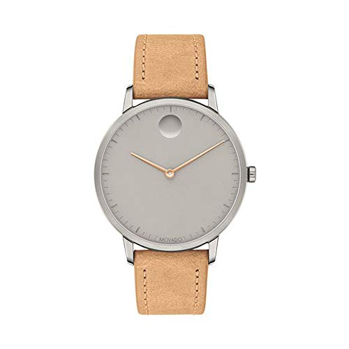 Movado FACE, Grey Ion-Plated Stainless Steel Case, Grey Dial, Tan Leather Strap, Women, 3640013