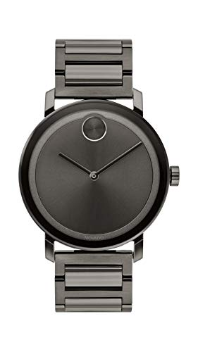 Movado Men's BOLD Evolution Gunmetal Watch with a Flat Dot Sunray Dial, Gold (Model 3600509)