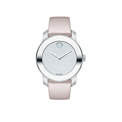 Movado Women's BOLD Iconic Metal Stainless Steel Watch with Glitter Dial, Silver/Pink (3600522)
