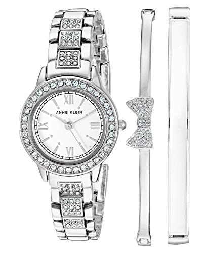 Anne Klein Women's Swarovski Crystal Accented Silver-Tone Bracelet Watch