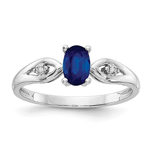 14k White Gold Sapphire Diamond Band Ring Size 7.00 Stone Birthstone