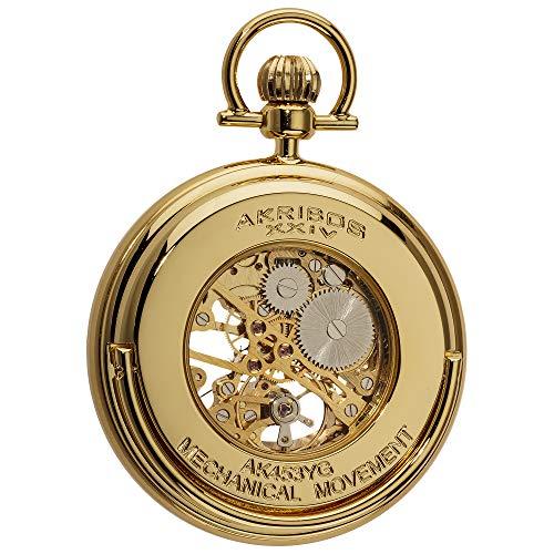 Akribos XXIV Men's Mechanical Skeleton Pocketwatch - Sunray Pattern Dial