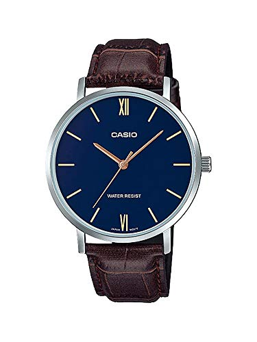 Casio Men's Minimalistic Blue Dial Brown Leather Band Analog Watch