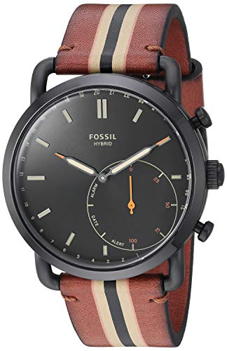 Fossil Men's Stainless Steel Hybrid Watch with Leather Strap, Brown