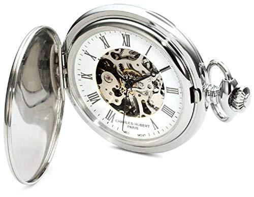 Charles-Hubert, Paris Premium Collection Stainless Steel Mechanical Pocket Watch