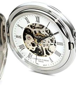 Charles-Hubert, Paris Premium Collection Stainless Steel Mechanical Pocket Watch