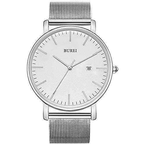BUREI Men's Fashion Minimalist Wrist Watch Analog Date with Stainless Steel