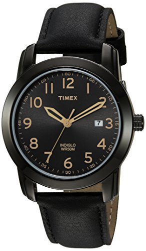 Timex Men's Highland Street Black Leather Strap Watch